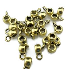 Kraal met oogje – Oud goudkleur metaal 3x4x6mm - gat 2mm - 10 stuks