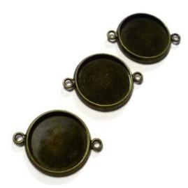 Cabochonsetting - rond met 2 oogjes voor 14mm cabochon - oud brons - antiek goudkleur