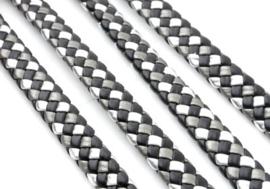 Imitatieleer band gevlochten 9,5mm x4mm – Zwart Grijs Zilver - 20cm