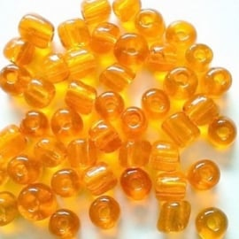 Glas rocaille 4mm (6.0) Transparant Oranje - Per zakje ca 55 stuks