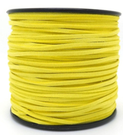 Faux Suede koord Plat - Geel ( yellow ) 3x1.4mm