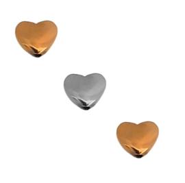 Hematiet Kralen Hartje met verticaal gat - antiek goud- of zilverkleur - 6x5mm 7 stuks