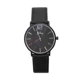 Horloge Zwart met Zwart PU Leren Bandje - Ø 40mm