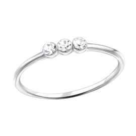 Zilveren Ring met 3 ronde zirkiona's - 925 sterling zilver