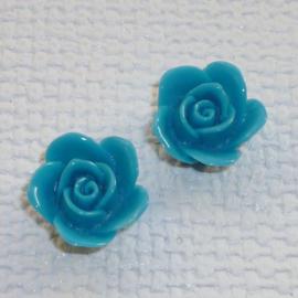 Kraal Roosje Donker Aquablauw met Rijggat - 16mm