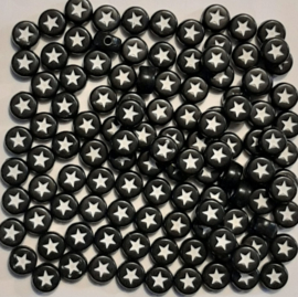 Ronde Sterretjes Kralen - Zwart met een Wit Sterretje - 7x4mm