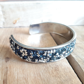 Armband Cuff Diamond Glitter - Blauw  Zilver Strass