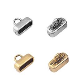 Eindkapje voor Leer - Gat 10 x 4mm - 2 stuks - oud goudkleur of oud zilverkleur