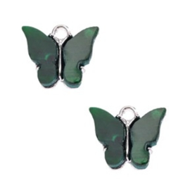 Bedel Vlinder Groen / Zilver 15x13mm