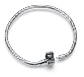 RVS Pandora-style armband 19cm - met bolsluiting