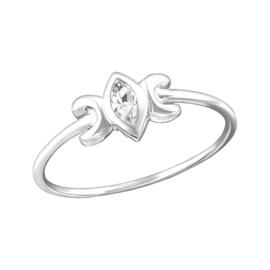 Zilveren Ring Franse Lelie met Zirkiona - 925 sterling zilver