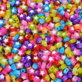 Acryl Ster Kralen in mooie kleurenmix - 25 stuks