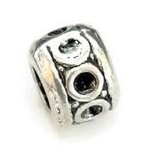 Metalen kraal met groot gat - Cirkels - 9.5x7mm - gat 4.5mm