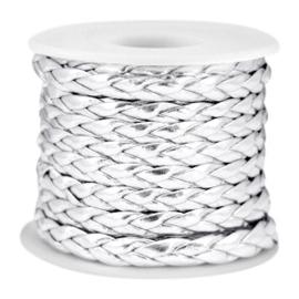 Platgevlochten imitatie leer koord – Metallic Zilver - 6x2mm - 50cm