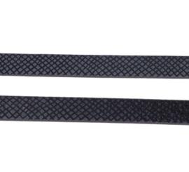 Plat Imitatieleer met Print - 10x2mm – Zwart – 10cm