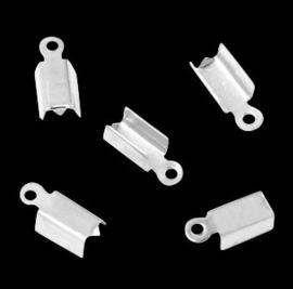 Lintklem /  Veterklem - Silverplated Metaal - 12x5x4mm - 10 stuks