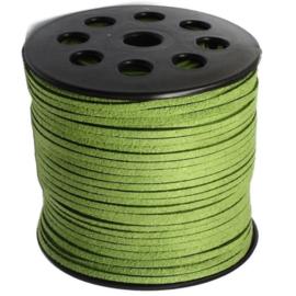 Faux Suede koord Plat - Zwartachtig groen ( blackish green ) 3x1.4mm – 1 meter