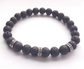 Heren / Jongens Armband van 8mm zwarte Lava Kralen met zilverkleurige tussen kralen