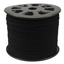Faux Suede koord Plat - Zwart ( black ) 3x1.4mm - ca 90cm
