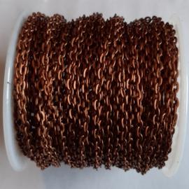 Metaal Schakelketting 3x2mm Rood koper - 1 meter