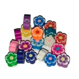 Polymeer Klei Kralen Bonte Bloemen mix - 6mm - 25 stuks