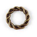 Metalen Tussenzetsel Ring, Rond 2 zijdig bewerkt - 15mm Antiek Brons - 5 stuks