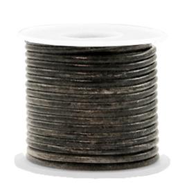 DQ Leer Vintage Zwart Metallic 2mm rond - 50cm