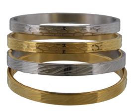 Stainless steel bangle armband met zebra print - zilver of goudkleur - maat M