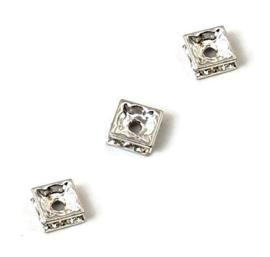 Vierkante Spacerkralen met Strass - 6mm - Clear Crystal - 5 stuks