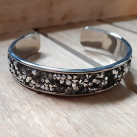 Armband Cuff Diamond Glitter - Black/Diamond Strass
