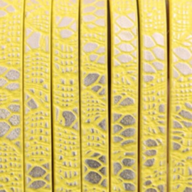 Plat Fluor Geel/Zilverkleur 5x2mm Imitatieleer met Reptielprint - 18cm