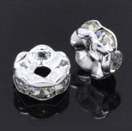 Strass Rondellen kristal - Silver Plated -  6mm - Golvend – Blank - 10 stuks