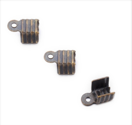 Metaal Veterklem - Antiek Bronskleur - 7.5x5mm - 20 stuks