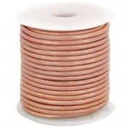 DQ Leer - Pale Blush Pink Metallic - 3mm rond - 25cm