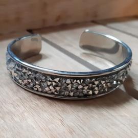 Armband Cuff Diamond Glitter Zilver Strass