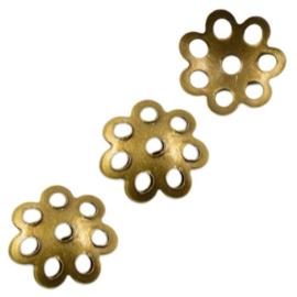 Filigraan kralenkapje bloem - 6x1mm- Oudbronskleur metaal - 50 stuks