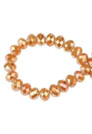 Facet Glaskralen 6 x4 mm Oranje AB Rondel - 19 stuks