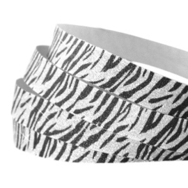 Crystal Glitter Tape Zebra Print 10mm Silver-Black - 20cm