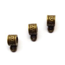 Kraal met oogje – Oud Brons Metaal - 10x5mm - Gat 3.5mm - 5 stuks