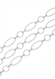 Ketting metaal met ovale en ronde schakels ± 8mm en ± 16x8mm - 1 meter