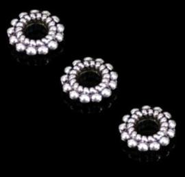 Spacer kralen metaal zilverkleur - 8x2mm - 10 stuks