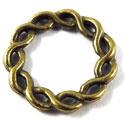 Metalen Tussenzetsel Ring, Rond 2 zijdig bewerkt - 19mm Antiek Brons
