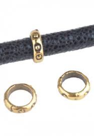 Metalen kraal rondel -  8x2.5mm - groot gat style - oud goudkleur - 2 stuks