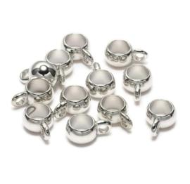 Metallook Kralen  met oog - Rhodiumkleur - 13x10x6mm - gat 6mm