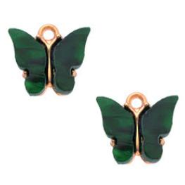 Bedel Vlinder Donkergroen / Goud 15x13mm