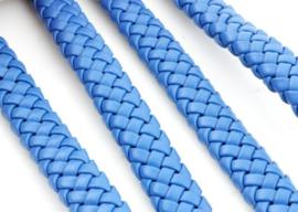 Imitatieleer band gevlochten 9,5mm x4mm -  blauw - per 20 cm