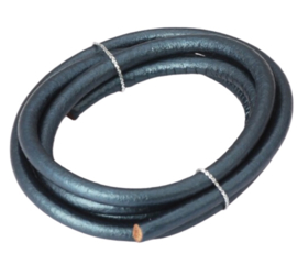 DQ Leer Donkerblauw metallic  -  5mm rond - 18.5cm