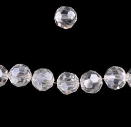 Glaskralen rond - facet geslepen kristal -  8mm - 10 stuks