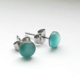 Stainless steel oorsteker met aqua groene plaksteen kattenoog 6mm - per paar
