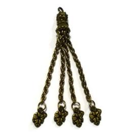 Kwastje met blaadjes - Oud brons / antiek goudkleur
